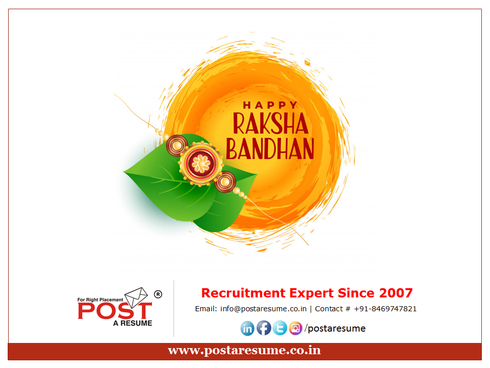 Happy Raksha Bandhan from POST A RESUME HR Consultancy Placement Agency, Ahmedabad, Gujarat, India