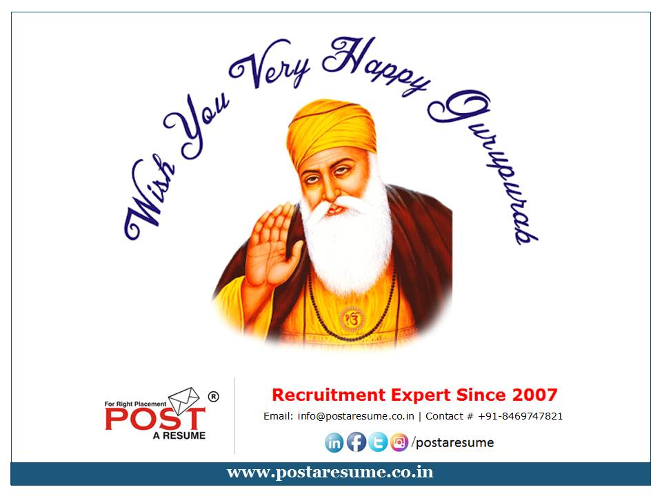 gurunanak jayanti wishes from post a resume hr consultancy for india africa and gulf